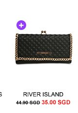 RIVER ISLAND Quilted Chain Clip Top Purse