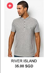 RIVER ISLAND Grey Polo Shirt