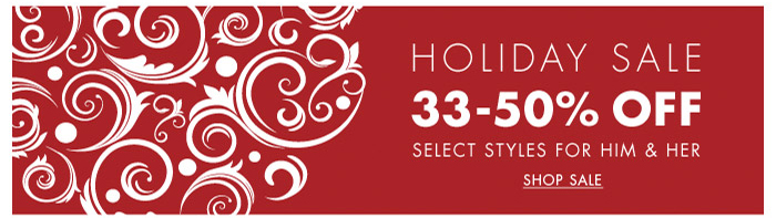 Holiday Sale 33-50% Off