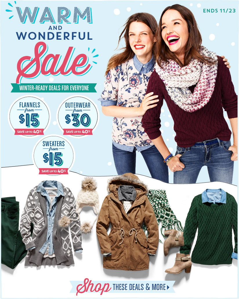 WARM AND WONDERFUL Sale | WINTER-READY DEALS FOR EVERYONE | ENDS 11/23 | Shop THESE DEALS & MORE