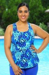 Women's Plus Size Swimwear - Always For Me Sport - Animal Print Princess Seam Racer Back Top