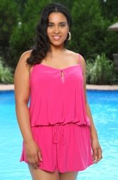 Women's Plus Size Cover Ups - Always For Me Cover Keyhole Drop Waist Dress