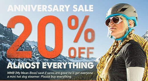 Anniversary Sale - 20% off almost everything
