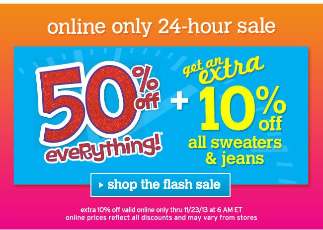 Extra 10% off all sweaters & jeans