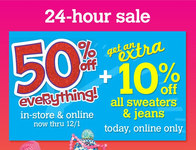 extra 10% off sweaters & jeans