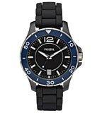 Fossil CE1036 Women's Black Ceramic Silicone Rubber Strap Watch