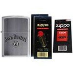 Zippo 5726 Classic Jack Daniels Old No.7 Brand Brushed Chrome Finish Lighter with Two Flint Card and One Wick Card