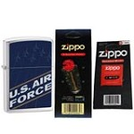 Zippo 24827 Blue US Air Force Brushed Chrome Windproof Lighter with One Flint Card and One Wick Card