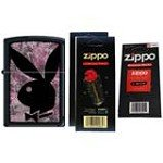 Zippo 5767 Classic Playboy Bunny Black Matte Finish Windproof Pocket Lighter with Two Flint Card and One Wick Card