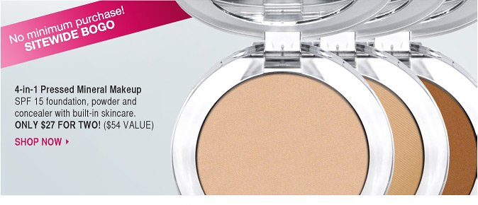 4-in-1 Pressed Mineral Makeup: SPF 15 foundation, powder and concealer with built-in skincare.