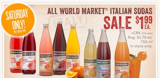 Today Only (11/23) World Market Italian Sodas are $1.99 ea (In Store Only)