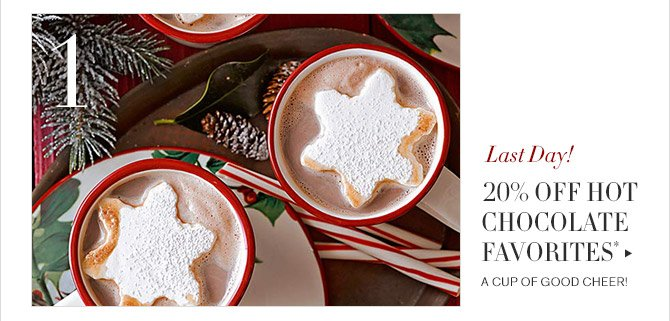 1 -- Last Day! -- 20% OFF HOT CHOCOLATE FAVORITES* -- A CUP OF GOOD CHEER