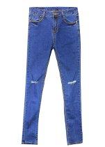 Cut-out Blue Pants