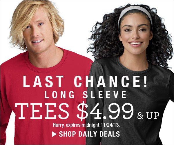 Last Chance: Long Sleeve Tees $4.99 & up