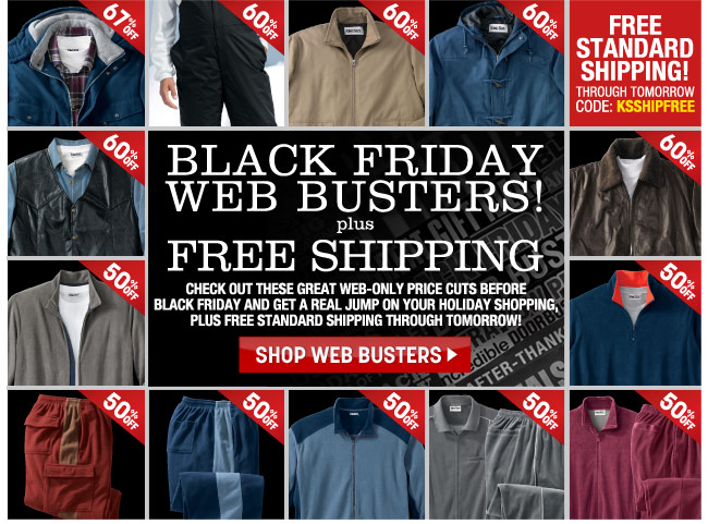 black friday web busters plus free standard shipping through tomorrow - code: KSSHIPFREE - shop web busters