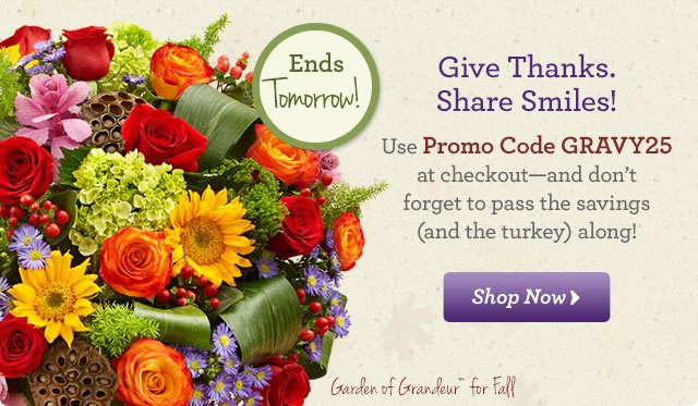 Thanksgiving Friends & Family Sale Use Promo Code GRAVY20 at checkout - and don't forget to pass the savings (and the turkey) along! Shop Now