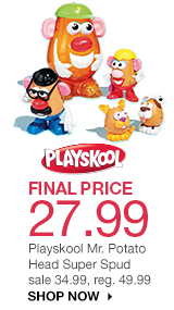 FINAL PRICE 27.99 Playskool Mr. Potato Head Super Spud. sale 34.99, reg. 49.99. shop now