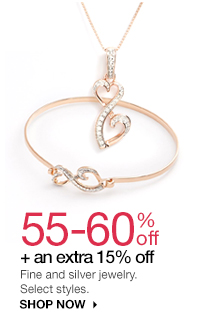 55-60% off + an extra 15% off Fine and silver jewelry. Select styles. shop now