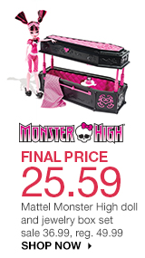 FINAL PRICE 25.59 Mattel Monster High doll and jewelry box set. sale 36.99, reg. 49.99. shop now