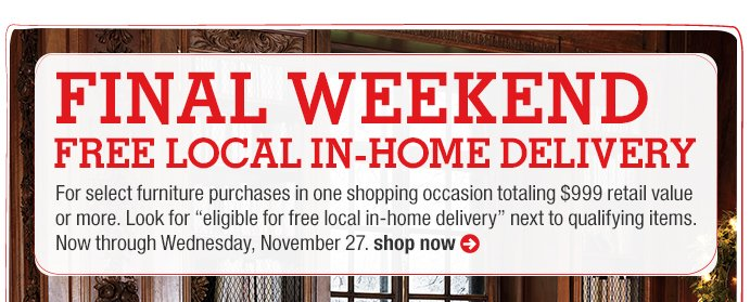 final weekend. free local in-home  delivery