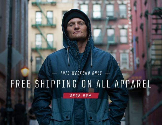 Free Shipping On All Apparel Orders, This Weekend Only!
