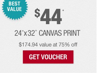 BEST VALUE: $44 Canvas at 75% off