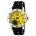 Invicta 1121 Men's Sea Spider Yellow Dial Black Rubber & Stainless Steel Watch