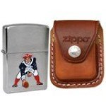 Zippo AD235 Patriot Throwback Windproof Lighter with Zippo Brown Leather Clip Pouch