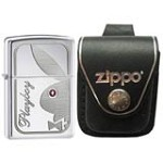 Zippo 24789 Playboy Swarovski Crystal Eye High Polish Chrome Windproof Lighter with Zippo Black Leather Loop Pouch
