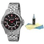 Wenger 77076 Men's Stainless Steel Black Dial Swiss Watch with 30ml Ultimate Watch Cleaning Kit
