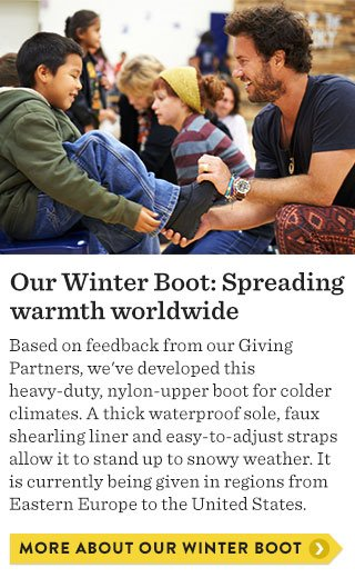 Our Winter Boot: Spreading warmth worldwide