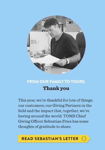 From our family to yours: Thank you. Read Sebastian's letter