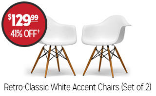 Retro-Classic White Accent Chairs (Set of 2) - $129.99 - 41% off‡