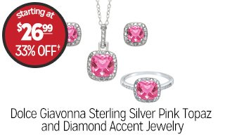 Dolce Giavonna Sterling Silver Pink Topaz and Diamond Accent Jewelry - $26.99 - 33% off‡