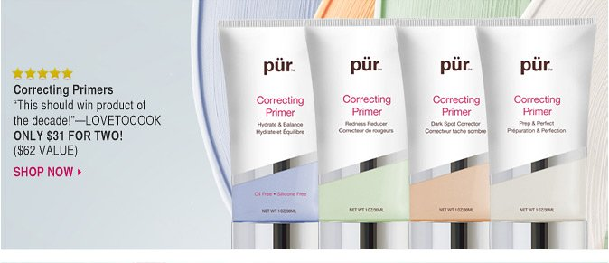 Correcting Primers: Skin-perfecting makeup primers in four problem-solving shades.