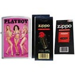 Zippo 1203 Classic Brushed Chrome Playboy Cover July 2002 Windproof Lighter with Two Flint Card and One Wick Card