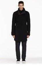 RICK OWENS Black fleece LIMO LINER PEACOAT for men
