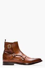 ALEXANDER MCQUEEN Brown leather brogued monk-strap boots for men