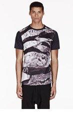EN NOIR Black cracked surface t-shirt for men
