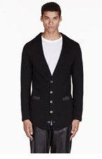 EN NOIR Black quilted cardigan for men