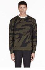 MCQ ALEXANDER MCQUEEN Olive & Black swallow GRAPHIC sweatshirt for men