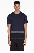 RAG & BONE Navy slub GRAYSON STRIPEd t-shirt for men