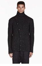 RICK OWENS Charcoal grey SHORT MOLLINO cardigan for men