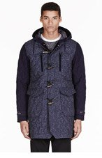 WHITE MOUNTAINEERING Navy & charcoal quilted Windstopper jazz duffle coat for men