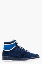 WHITE MOUNTAINEERING Navy suede Saucony edition HANGTIME SNEAKERs for men
