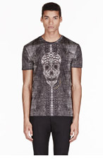 ALEXANDER MCQUEEN Black python & skull t-shirt for men