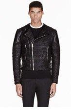 GIVENCHY Black TWEED LEATHER TRIMMed biker jacket for men