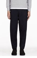 DAMIR DOMA Navy PLEATed Low rise PARARU TROUSERS for men