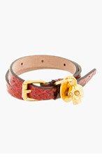 ALEXANDER MCQUEEN Black & red snakeskin Double Wrap Skull Charm Bracelet for men
