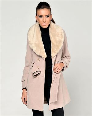 Nero Su Bianco Faux Fur Accent Double Breasted Coat Made In Italy